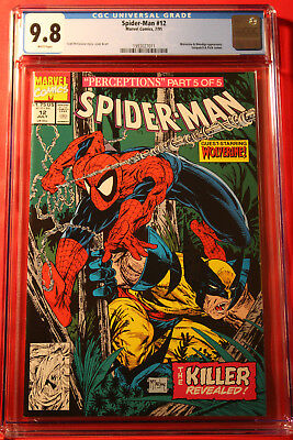 Spider-Man #12 Cgc 9.8 Nm/mt 1990 Todd Mcfarlane Wolverine Cover Marvel Amazing