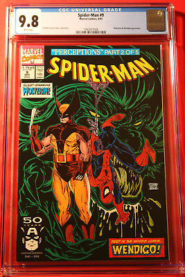 Spider-Man #9 Cgc 9.8 Nm/mt 1990 Todd Mcfarlane Wolverine Cover Marvel Amazing