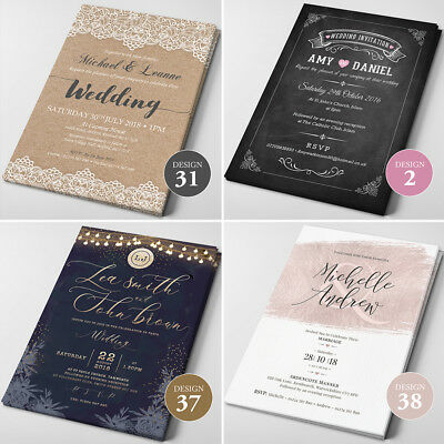 Personalised Wedding Invitations Day or Evening - 40+ designs, FREE Envelopes