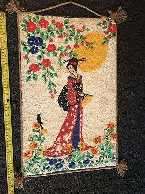 Vintage Home Made embroidered tapestry Oriental Lady Chinese Scene Craft