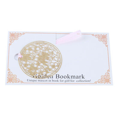 Round Shape Bookmark Hollow Out Copper Metal Blossom Stationery Gift Clips D