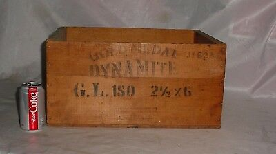 Vintage GOLD MEDAL EXPLOSIVES Dynamite Wood Box Crate ILLINOIS POWDER MFG. Co.