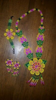 Mexican Huichol Handmade necklace, bracelet and earrings set pink yellow