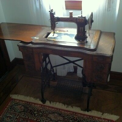 Antique Sewing Cabinet All Wood Metal Foot Rest and Wooden Draws (USA)