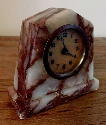 1920's ART DECO MARBLE MANTLE/BOUDOIR CLOCK,WIND UP.