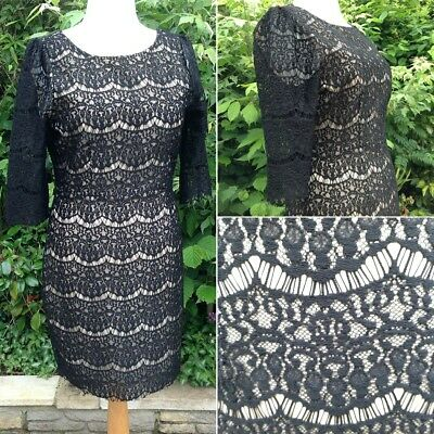 NEW Darling-London Black Lace & Nude Dress UK16 Cruise~Christmas Party~LBD