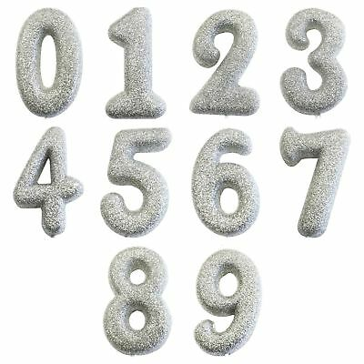 "Silver Glitter Birthday /Anniversary Cake Candles 7 cm /(2.7"") Numbers 0-9"