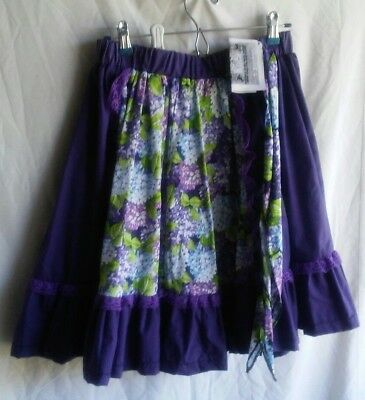 """Purple Passion"" Purple / Floral Square Dance Skirt w/Matching Man Tie size S/M"