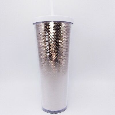 Starbucks Rose Gold Silver Sequin Venti Cold Cup Tumbler 24 Oz Holiday 2018