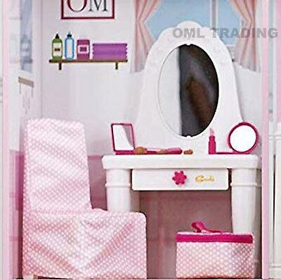 New Sindy Dolls House Vanity Dressing Table Set Furniture Large Light Up Mirror