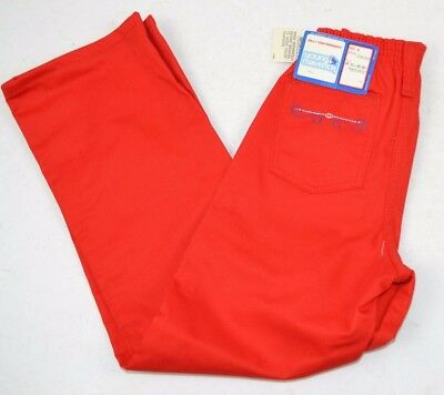 Vintage 1980's MAVERICK Girls Red Twill Jeans w/ Stitched Pocket Elastic Waist 6