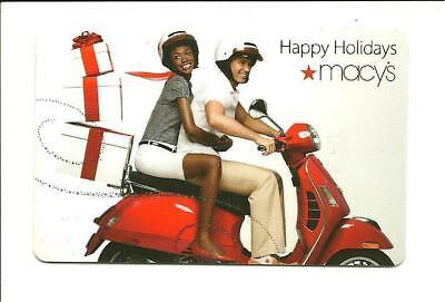 Macy's Happy Holidays Couple on Scooter Gift Card No $ Value Collectible Macys