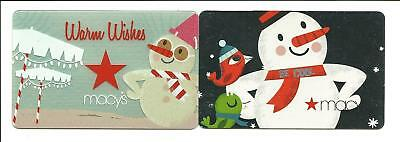 Macy's Lot of (2) Different Snowman Gift Cards No $ Value Collectible Macys