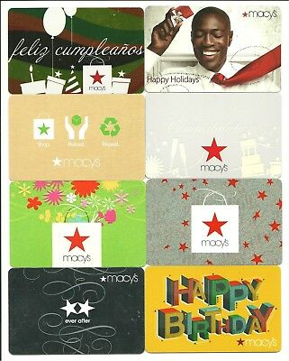 Lot of (8) Macy's Gift Cards No $ Value Collectible Birthday Holidays Spanish