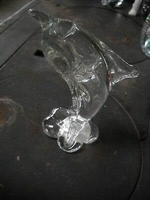 "Crystal Glass Dolphin Figurine Paperweight 5 1/2"" Tall"