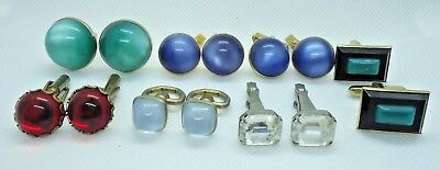 "Lot of vintage cufflinks with plastic acrylic ""stones"" blue green red clear"