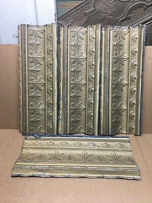 "4pc Lot of 20"" by 6"" Antique Ceiling Tin Vintage Reclaimed Salvage Art Craft"