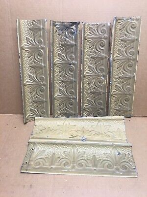 "6pc Lot of 16"" by 4"" Antique Ceiling Tin Vintage Reclaimed Salvage Art Craft"