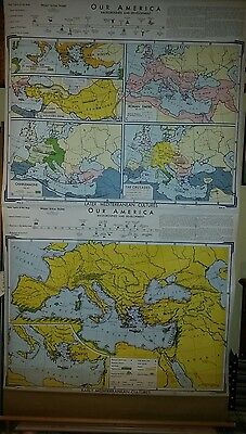 VINTAGE Pull Down School Map -  Early and Later Mediterranean Cultures