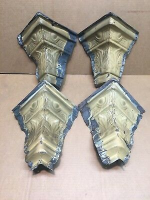 """4pc Matching Set outside corners 6"""" Antique Ceiling Tin Vintage Reclaim Salvage"""