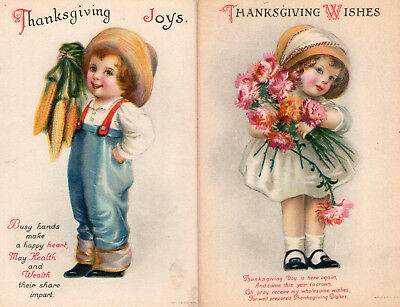 Lot of Four (4) Vintage and Whimsical Thanksgiving Postcards Circa 1910