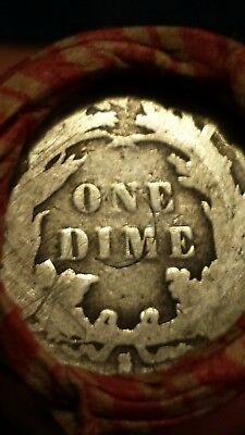 S Seated Dime / 1908 Indian. End Coins. Vintage Wheat Penny Roll As Pictured.