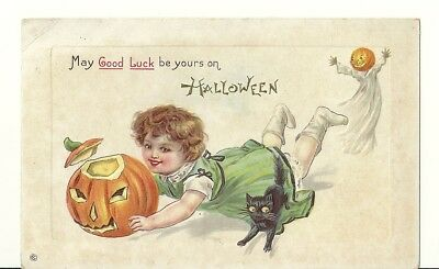May good luck be yours on halloween postcard