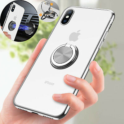 For iPhone X 7 8 Plus 6 6S Magnetic TPU Rubber Case Cover With Ring Stand Holder