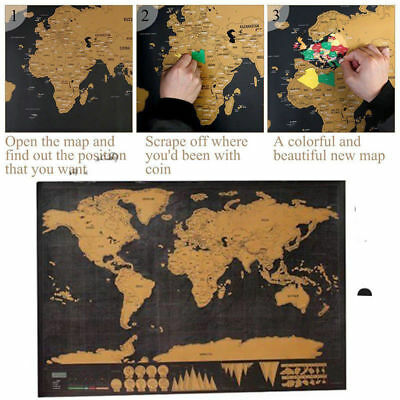 New Deluxe Scratch Off World Map Poster Journal Log Giant Map Of The World +Box