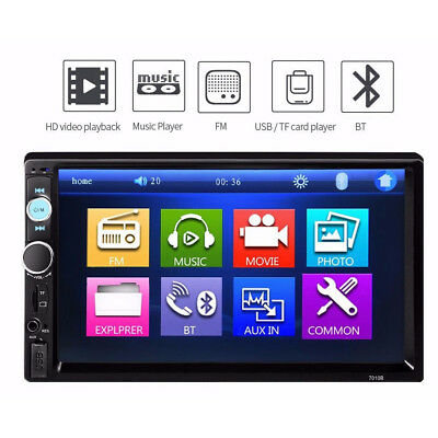 7'' 2 DIN Bluetooth Touch Car Stereo Radio MP5/3 Player USB/AUX/TF/FM Handsfree