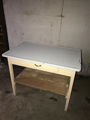 Antique Vintage Mutschler Farm Kitchen Table Oshkosh WI  PorceNamel