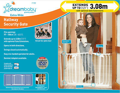 * DREAMBABY Chelsea Xtra Wide SAFETY GATE ** 75cm high ** 97-108cm wide ** White