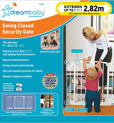 * DREAMBABY Chelsea SAFETY GATE ** 75cm high ** 71-82cm wide ** White