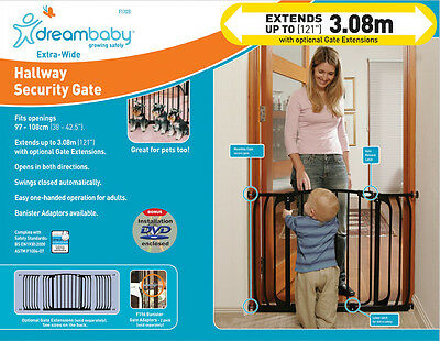 * DREAMBABY Chelsea Xtra Wide SAFETY GATE ** 75cm high ** 97-108cm wide ** BLACK