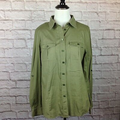 Michael Kors Top Women 10 Button Shirt Army Green Blouse