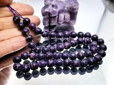 Rare Africaine Violet Minérale Sugilite Perles Rondes 39.4cm 8mm 218cts AAA 100%