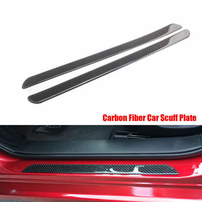 2X Car Auto Door Scuff Plate Sill Cover Panel Step Protector Real Carbon Fiber