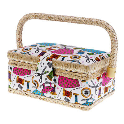 Wood Basket Sewing Box with Sewing Tool Kit Accessories Pattern Storage Case
