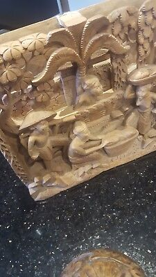 Japanese wooden carved picture