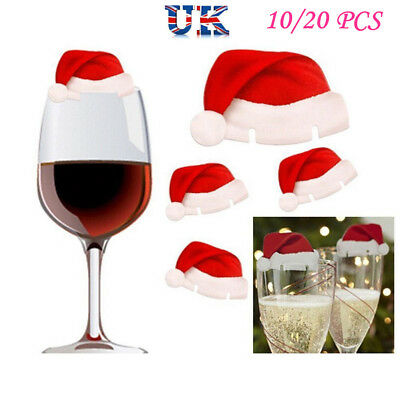20X SANTA Hat wine glass decorations - Christmas table Place Name Cards Paper UK