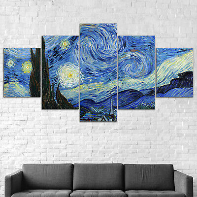 Starry Night Van Gogh Abstract Canvas Print Painting Framed Home Decor Wall Art