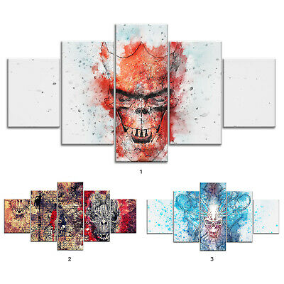 Skull Clown Abstract Canvas Print Painting Framed Home Decor Wall Art Poster 5P
