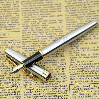 BAOER 388 Chic Stainless Steel Fountain Gold Trim M Nib Size Pen Silver YST