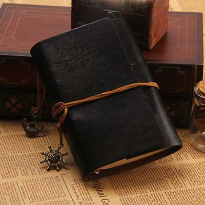 Classic Color PU Leather Retro Vintage Blank Page Notebook Journal Diary BLK MT