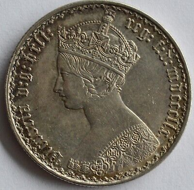 Great Britain Silver 1859 Gothic Florin High Grade