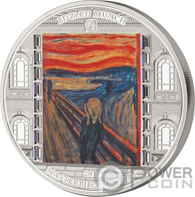SCREAM Munch Masterpieces of Art 3 Oz Silver Coin 20$ Cook Islands 2018