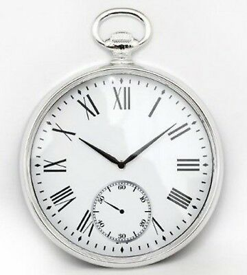 Pocket Fob Watch Wall Clock Vintage Retro Antique Silver Chrome Effect 38cm