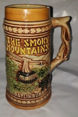 "Gatlinburg Beer Stein The Smokey Mountains 7"" Vintage Japan 1950s Mint"