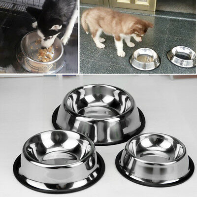S/M/L/XL Stainless Steel No tip Non SLIP Dog Puppy Pet Food Water Bowl Dish PW