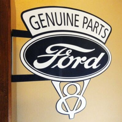Old Style Ford Motor V8 Genuine Parts Dicut Flange Vintage Style Sign Usa Made!